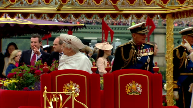 queen's diamond jubilee prince philip taken to hospital ahead of concert tx queen and prince philip duke of edinburgh on royal barge 'the spirit of... - beauty contest stock videos and b-roll footage