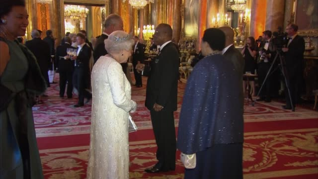 queen's dinner banquet: queen greets guests; england: london: buckingham palace: int queen elizabeth ii , prince charles , patricia scotland and... - state dinner stock videos & royalty-free footage