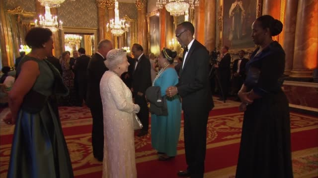 queen's dinner banquet: queen greets guests; queen welcoming chogm heads of state guests as above including justin trudeau - state dinner stock videos & royalty-free footage