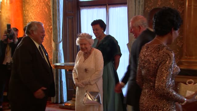 Queen's Dinner Banquet Queen greets guests side view ENGLAND London Buckingham Palace INT Queen Elizabeth II Prince Charles Patricia Scotland and...