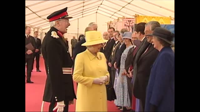 queen's golden jubilee tour: wales:; wales: anglesey: beaumaris castle: lms queen elizabeth ii waves to crowds, lms side queen and prince philip,... - patchwork stock videos & royalty-free footage