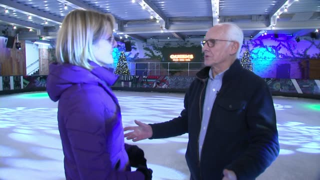 queen's ice rink feature england london queen's ice rink int dickie arbiter interview with reporter inshot sot - ice rink stock videos & royalty-free footage