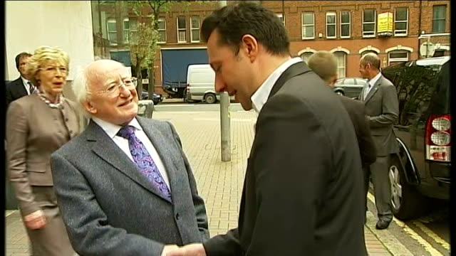 royal / queen's jubilee visit to belfast handshake with martin mcguinness belfast michael d higgins out of building and shaking reporter's hand... - michael d. higgins stock videos and b-roll footage