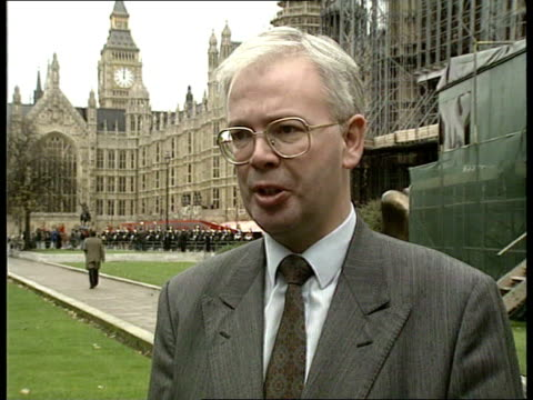 queen's speech 1991; ext westminster cms jim wallace mp intvwd sof -if this is the basis for the govts election manifesto then they are in deep... - 年次イベント点の映像素材/bロール