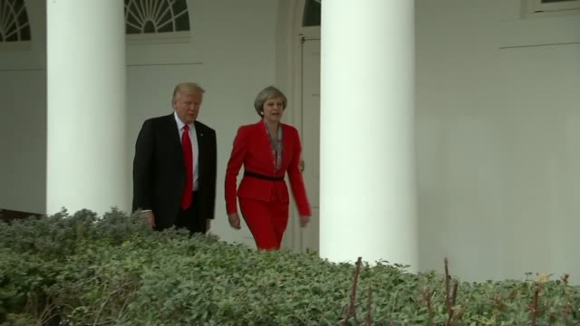 queen's speech analysis and reaction lib / tx washington white house donald trump and theresa may mp along white house colonnade together holding... - the queen's speech state opening of uk parliament stock-videos und b-roll-filmmaterial