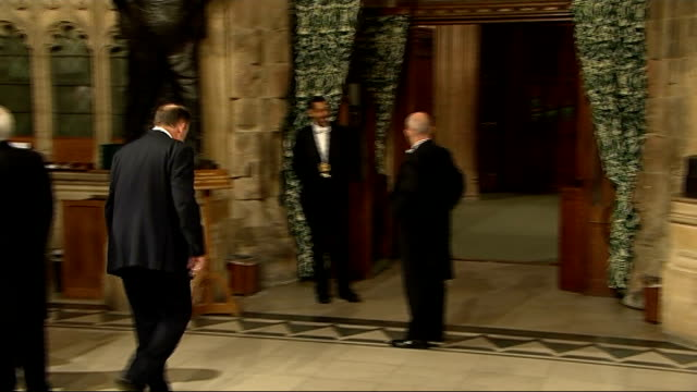 queen's speech interior lobby shots england london houses of parliament int gvs lobby includes nigel evans mp along in lobby to chat with man inside... - rod stock videos & royalty-free footage