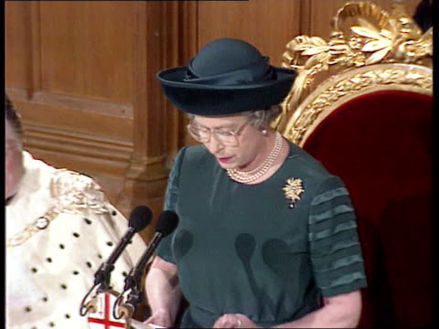queen's 'sympathy' speech at london guildhall; england: london: tcms queen elizabeth ii making speech at guildhall sof. - i, like queen victoria,... - town hall stock videos & royalty-free footage