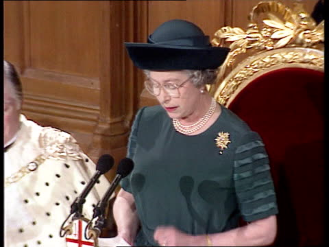 queen's 'sympathy' speech at london guildhall england london tgv guidhall with lunch taking place queen elizabeth ii making speech at guildhall sof... - scrutiny stock videos & royalty-free footage