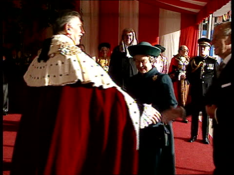 queen's 'sympathy' speech at london guildhall nao london guildhall ms queen elizabeth ii and duke of edinburgh arriving for celebration lunch at... - town hall stock videos & royalty-free footage