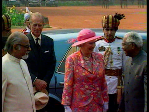 Queen's visit Dilomatic row EEN Delhi Queen and Prince Philip standing next Indian President Inder Gujral Queen inspecting soldiers Robin Cook MP...