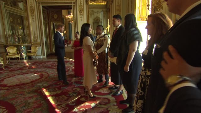 queen's young leaders programme reception at buckingham palace reception and awards ceremony england london buckingham palace int prince harry duke... - meghan duchess of sussex stock videos and b-roll footage