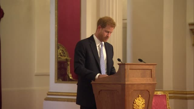 queen's young leaders programme reception at buckingham palace: reception and awards ceremony; england: london: buckingham palace: int prince harry,... - 式典点の映像素材/bロール