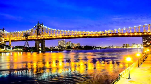 timelapse, queensboro 59th st bridge, new york city - queensboro bridge stock videos & royalty-free footage