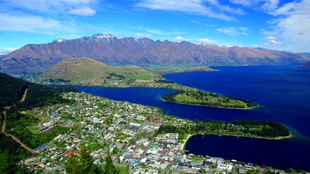 queenstown city view - queenstown stock videos & royalty-free footage