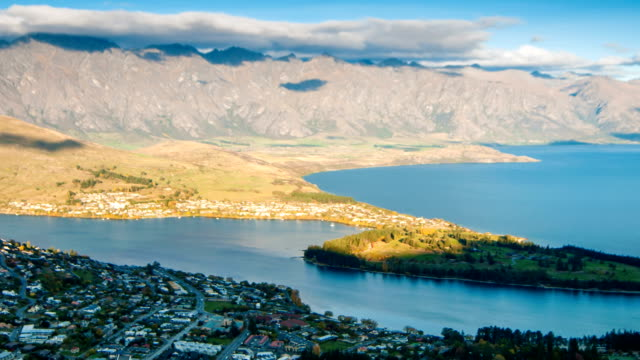 queenstown downtown aerial view new zealand at dusk - queenstown stock videos & royalty-free footage