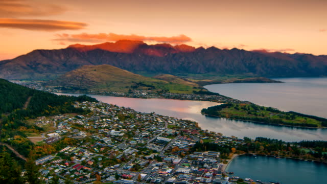 queenstown downtown aerial view new zealand - queenstown stock videos & royalty-free footage