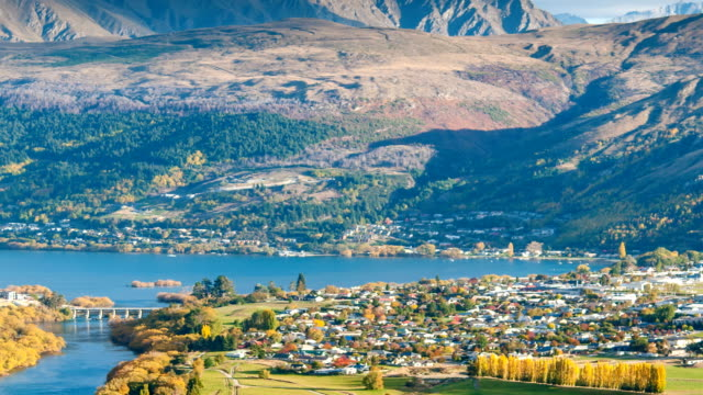 queenstown downtown view new zealand - queenstown stock videos & royalty-free footage
