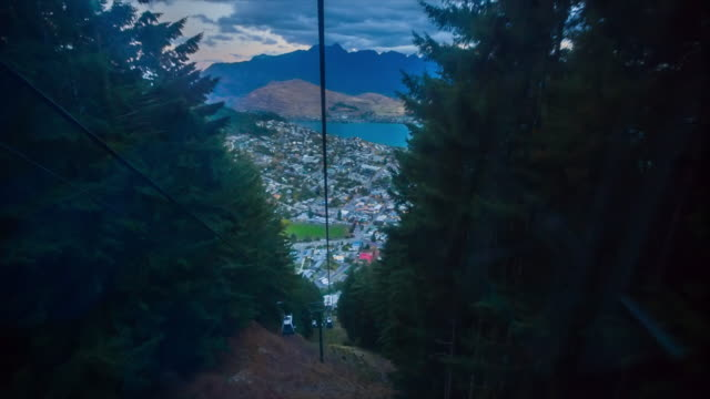 queenstown from skyline gondola cable car - queenstown stock videos & royalty-free footage