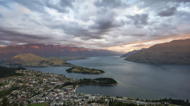 queenstown, new zealand at dusk - new zealand stock videos & royalty-free footage