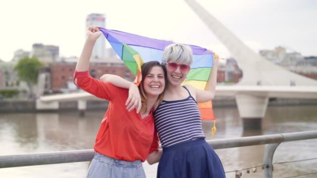 queer friends in buenos aires - puente de la mujer stock videos & royalty-free footage