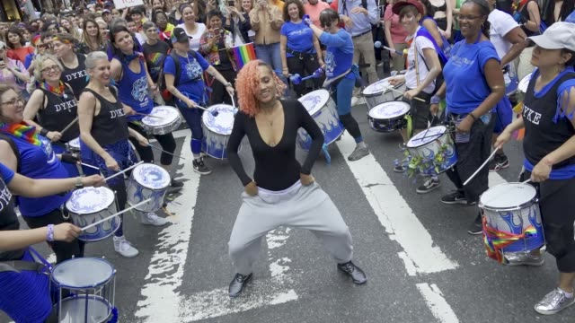 queer women and dykeidentified trans and nonbinary folks marched down fifth avenue for the 26th annual dyke march in new york city #nycdykemarch as... - marching band stock videos & royalty-free footage