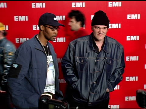 quentin tarantino and guest at the emi post-grammy awards bash at the beverly hilton in beverly hills, california on february 13, 2005. - emi grammy party stock videos & royalty-free footage