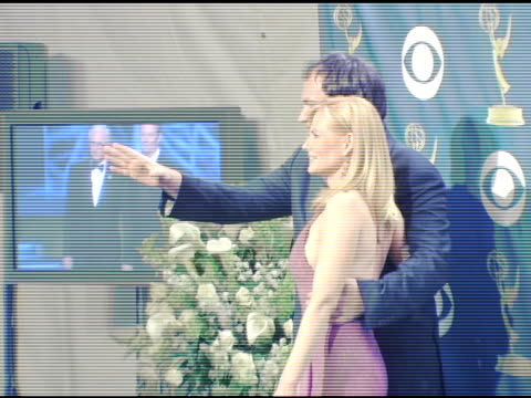 quentin tarantino and marg helgenberger at the 2005 emmy awards press room at the shrine auditorium in los angeles, california on september 19, 2005. - marg helgenberger stock videos & royalty-free footage