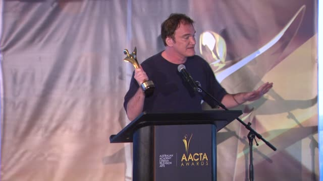 SPEECH Quentin Tarantino at 2nd Annual AACTA International Awards on 1/26/13 in Los Angeles CA