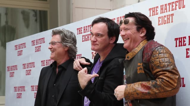 BROLL Quentin Tarantino Kurt Russell Ennio Morricone Michael Madsen at 'The Hateful Eight' Photocall in Rome at Hassler Hotel on January 28 2016 in...