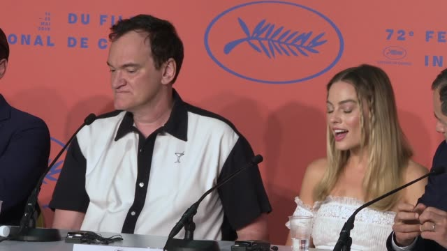 INTERVIEW Quentin Tarantino Margot Robbie on rejecting the question Sharon Tate at 'Once Upon a time in Hollywood' Press Conference The 72nd Cannes...