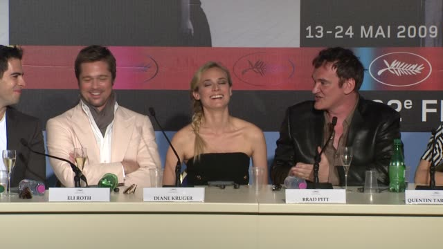 quentin tarantino on his and brad pitts mutual desire to work with eachother and how the character fitted with brad pitt at the cannes film festival... - 62 ° festival internazionale del cinema di cannes video stock e b–roll