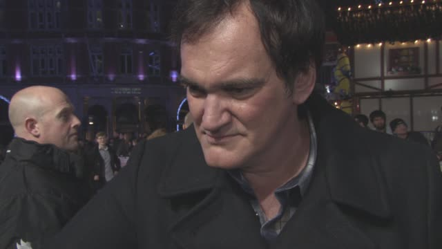 interview quentin tarantino on the film being nominated at the golden globe jennifer jason leigh being nominated making movies in genres and their... - interview stock videos & royalty-free footage