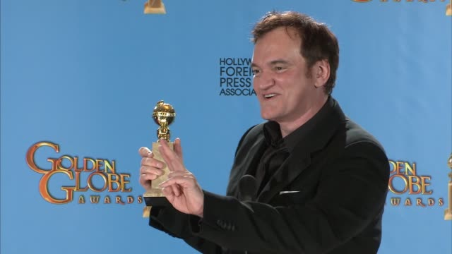 vídeos de stock e filmes b-roll de quentin tarantino on why he doesn't soften the language in his movies. at 70th annual golden globe awards - press room 1/13/2013 in beverly hills, ca. - quentin tarantino