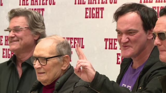 quentin tarantino presents the hateful eight in rome alongside famous italian movie score composer ennio morricone and actor kurt russell - kurt russell stock videos & royalty-free footage