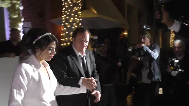 quentin tarantino & wife daniela pick leave their wedding reception at mr. chow in los angeles in celebrity sightings in los angeles, - celebrities video stock e b–roll