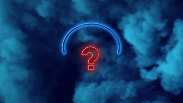 question mark on neon light against blue background in 4k resolution - punctuation mark stock videos & royalty-free footage