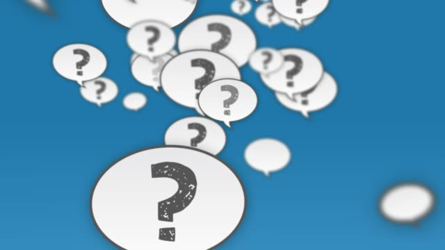 question mark speech bubbles flying up - asking stock videos & royalty-free footage
