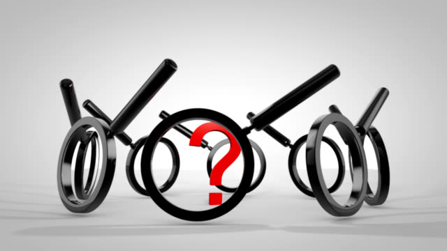 question mark with magnifying glass animation hd - punctuation mark stock videos & royalty-free footage