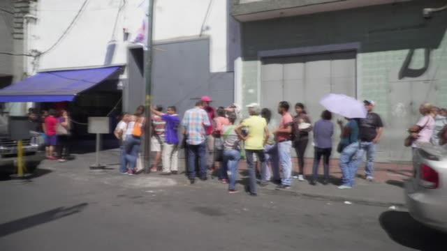 Queues of people waiting for food in Caracas Venezuela