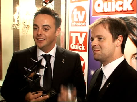 stockvideo's en b-roll-footage met arrivals and winners interviewed ant dec being interviewed on red carpet - declan donnelly