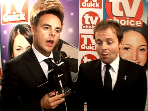 quick and tv choice awards: arrivals and winners interviewed; ant & dec interview sot - chuffed to still be winning awards on series 8 - on having... - cameo brooch stock videos & royalty-free footage