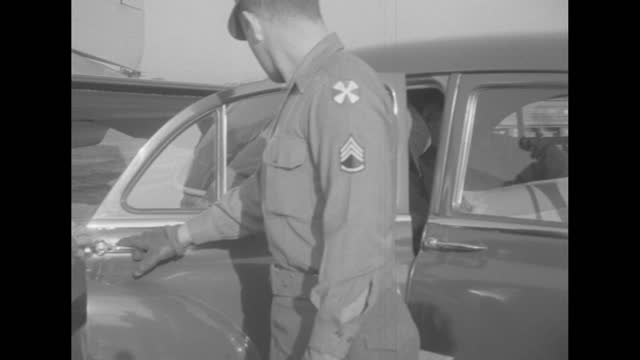 quick shots / air force plane on ground propellers turning / various shots congressmen thomas e. martin and olin teague greeted by soldiers at... - note pad stock videos & royalty-free footage