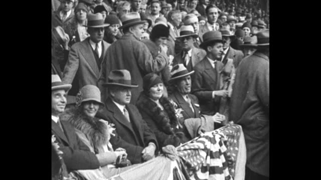 """athletics win world series, philadelphia - ninth inning rally gives a's 3-2 victory over chicago in fifth and deciding game"" / pres. herbert hoover... - 1920 1929 stock videos & royalty-free footage"