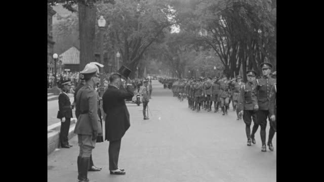 """""""minister of defense reviews canada's own - lt. col. d. m. sutherland inspects historic regiments of montreal garrison on annual church parade"""" / as... - military parade stock videos & royalty-free footage"""