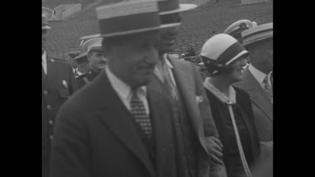 """""""philadelphia pa, heavyweight king visits site for his title bout with tunney! jack dempsey, accompanied by wife and others, looks over huge sesqui... - boxer dog stock videos & royalty-free footage"""