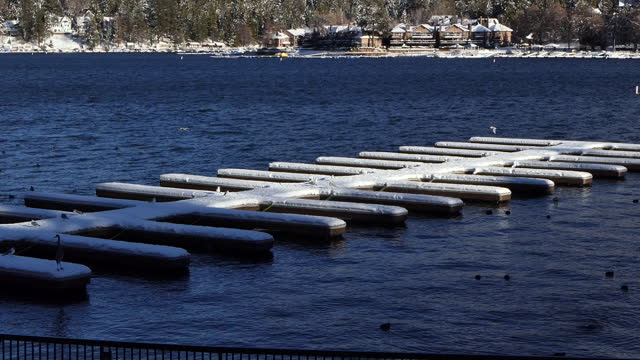 quick zoom-in to seagulls sitting on a row of boat docks covered with snow on a lake - 水の形態点の映像素材/bロール