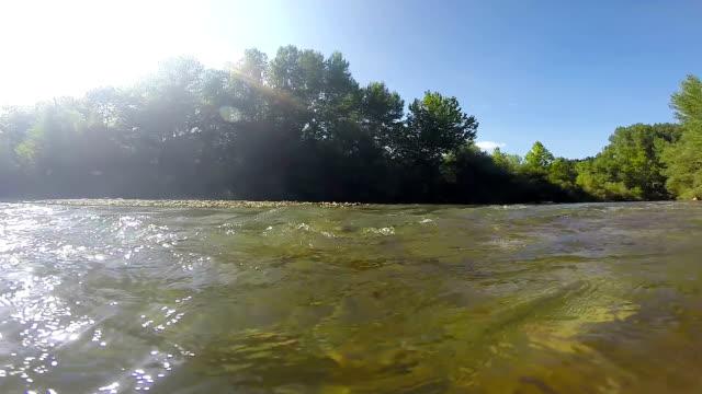 Rapidement de l'eau claire dans la rivière qui coule