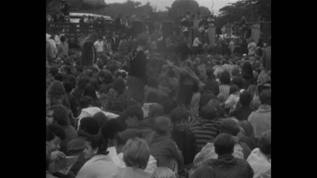 Quicksilver Messenger Service performs at a Human BeIn in Golden Gate Park on the summer solstice of 1967 during Summer of Love/ Two young women are...