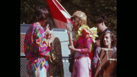 stockvideo's en b-roll-footage met quicksilver messenger service plays at the human be-in summer solstice hippies and rock and roll in golden gate park - hippie