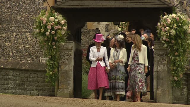 a quiet corner of rural berkshire played host to the society wedding of the year today as pippa middleton married her hedge fund manager fiance james... - stereotypically upper class stock videos & royalty-free footage